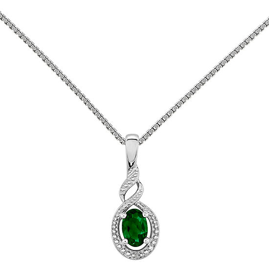 Womens Diamond Accent Lab Created Green Emerald Sterling Silver Pendant Necklace