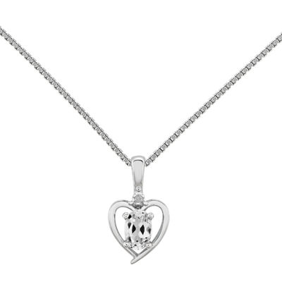 Womens Diamond Accent Genuine White Topaz Sterling Silver Heart Pendant Necklace