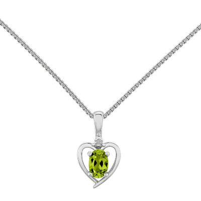 Womens Diamond Accent Genuine Green Peridot Sterling Silver Heart Pendant Necklace