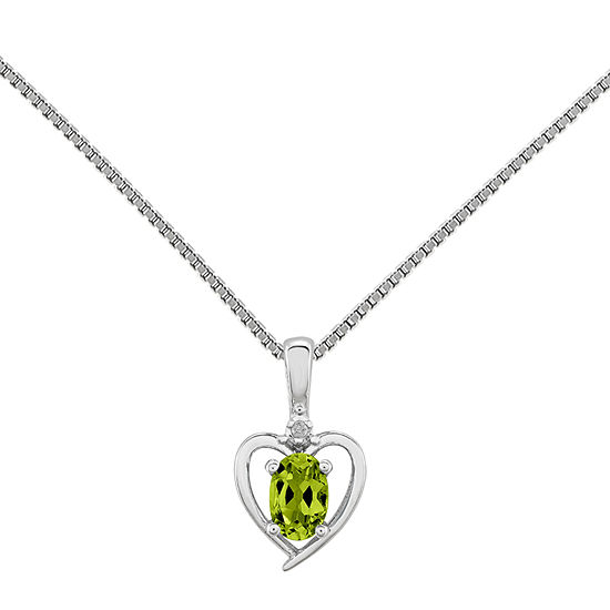 Womens Diamond Accent Genuine Green Peridot Sterling Silver Heart Pendant Necklace