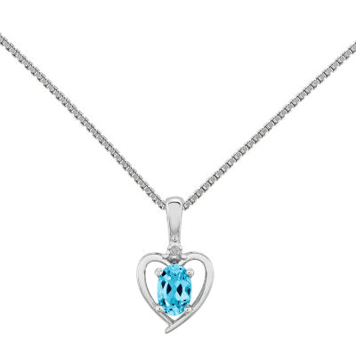 Womens Diamond Accent Blue Topaz Sterling Silver Heart Pendant Necklace