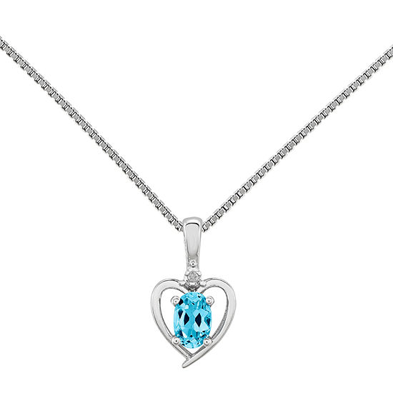 Womens Diamond Accent Genuine Blue Topaz Sterling Silver Heart Pendant Necklace