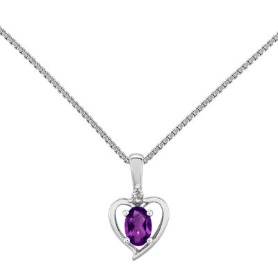 Womens Diamond Accent Purple Amethyst Sterling Silver Heart Pendant Necklace