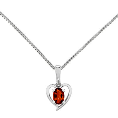 Womens Diamond Accent Genuine Red Garnet Sterling Silver Heart Pendant Necklace