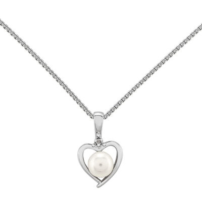 Womens Diamond Accent White Cultured Freshwater Pearl Sterling Silver Heart Pendant Necklace