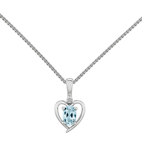 Womens Diamond Accent Genuine Blue Aquamarine Sterling Silver Heart Pendant Necklace