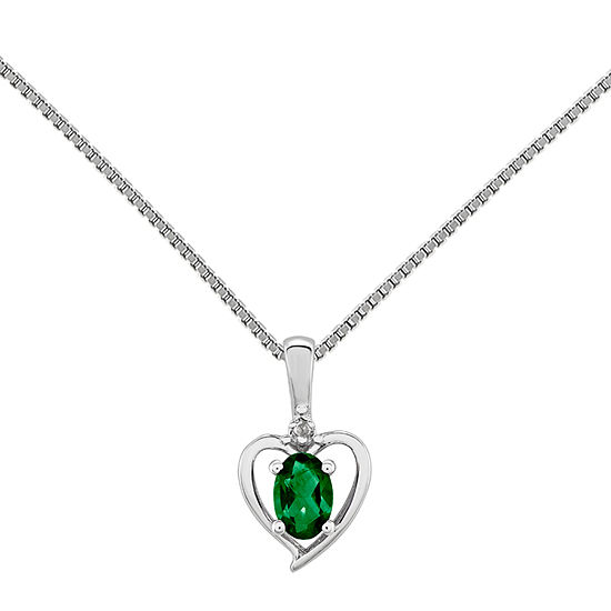 Womens Diamond Accent Lab Created Green Emerald Sterling Silver Heart Pendant Necklace