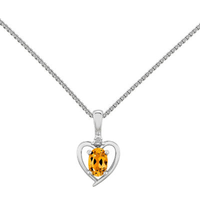 Womens Diamond Accent Genuine Yellow Citrine Sterling Silver Heart Pendant Necklace