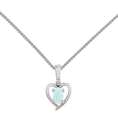 Womens Diamond Accent Lab Created White Opal Sterling Silver Heart Pendant Necklace