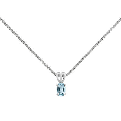 Womens Blue Aquamarine Sterling Silver Pendant Necklace