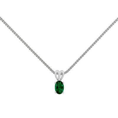 Womens Green Emerald Sterling Silver Pendant Necklace