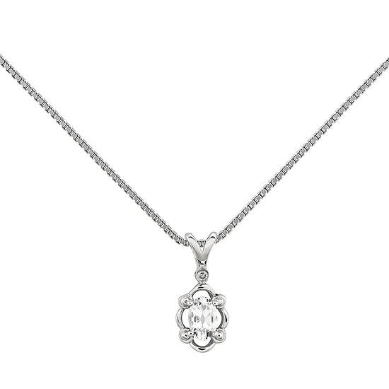 Womens Diamond Accent Genuine White Topaz Sterling Silver Pendant Necklace