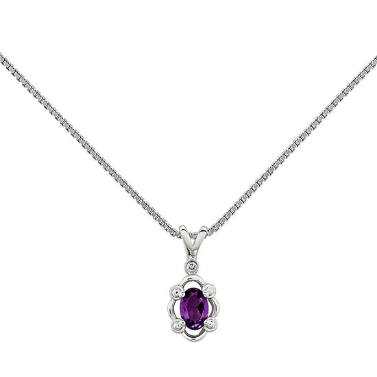 Womens Diamond Accent Genuine Purple Amethyst Sterling Silver Pendant Necklace