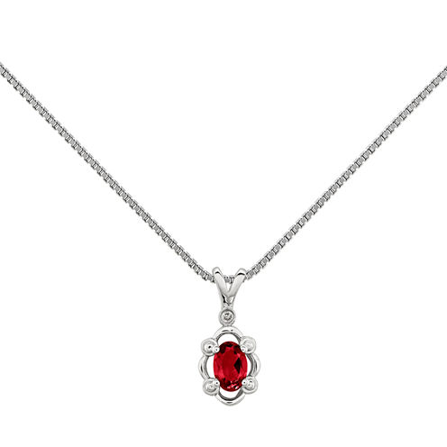 Womens Diamond Accent & Lab Created Ruby Sterling Silver Pendant Necklace