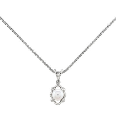 Womens Diamond Accent White Cultured Freshwater Pearl Sterling Silver Pendant Necklace