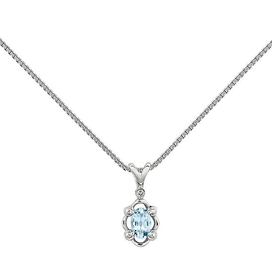 Womens Diamond Accent Genuine Blue Aquamarine Sterling Silver Pendant Necklace
