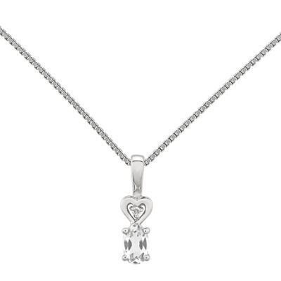 Womens Diamond Accent Genuine White Topaz Sterling Silver Pendant Necklace