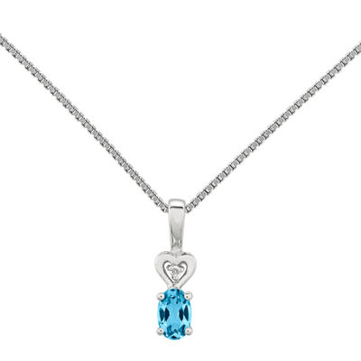 Womens Diamond Accent Blue Topaz Sterling Silver Pendant Necklace