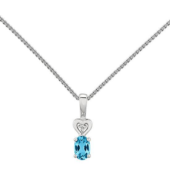 Womens Diamond Accent Genuine Blue Topaz Sterling Silver Pendant Necklace