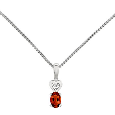 Womens Diamond Accent Genuines Red Garnet Sterling Silver Pendant Necklace
