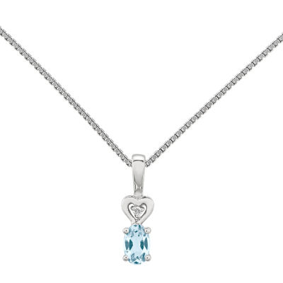 Womens Diamond Accent Blue Aquamarine Sterling Silver Pendant Necklace