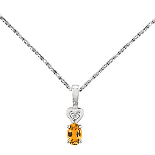 Womens Diamond Accent Yellow Citrine Sterling Silver Pendant Necklace