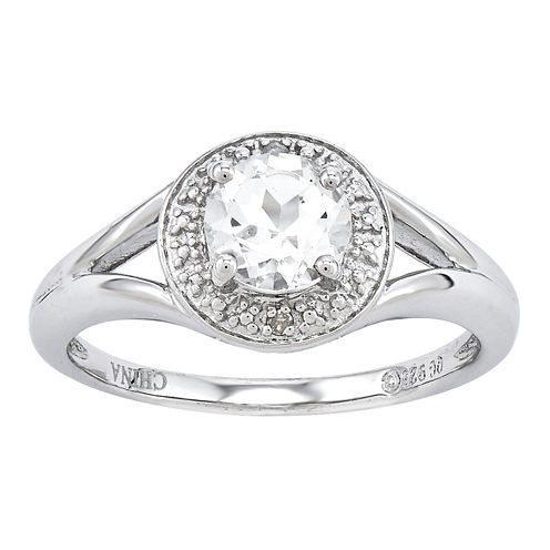 Womens Diamond Accent Genuine White Topaz Sterling Silver Halo Ring