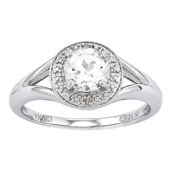 Womens Diamond Accent Genuine White Topaz Sterling Silver Halo Cocktail Ring