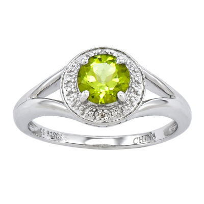 Womens Diamond Accent Green Peridot Sterling Silver Halo Ring