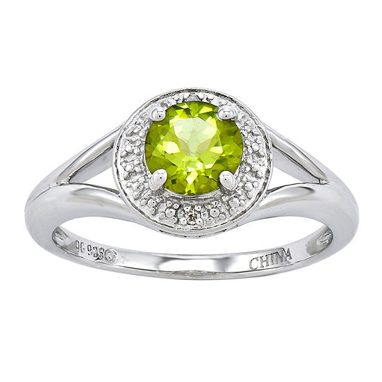 Womens Diamond Accent Genuine Green Peridot Sterling Silver Halo Cocktail Ring