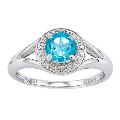 Womens Diamond Accent Genuine Blue Topaz Halo Cocktail Ring