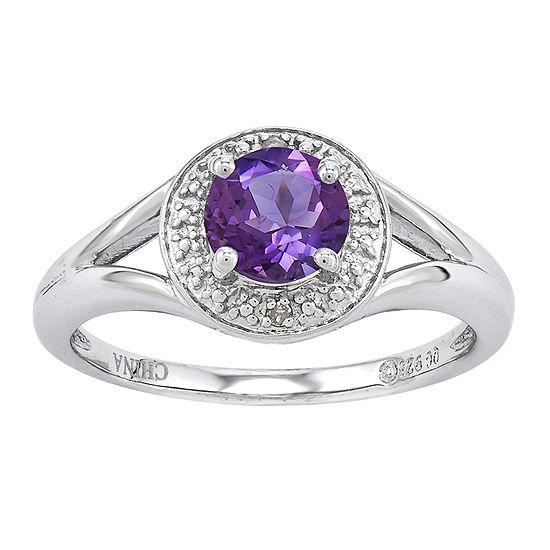 Womens Diamond Accent Genuine Purple Amethyst Halo Cocktail Ring