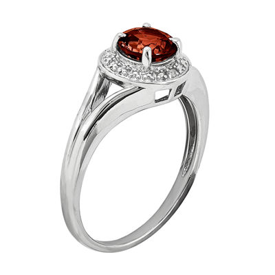 Womens Diamond Accent Genuine Red Garnet Sterling Silver Halo Ring