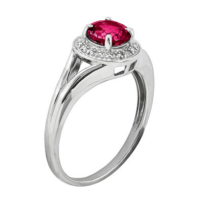 Lead-glass Filled Ruby & Diamond Accent Sterling Silver Halo Ring