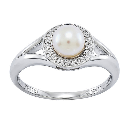 Womens Diamond Accent 6-6.5MM White Cultured Freshwater Pearl Sterling Silver Halo Cocktail Ring