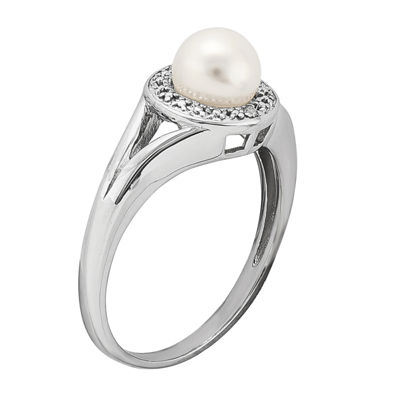 Womens Diamond Accent 6-6.5MM White Cultured Freshwater Pearl Sterling Silver Halo Ring