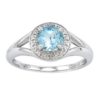 Womens Diamond Accent Blue Aquamarine Sterling Silver Halo Ring