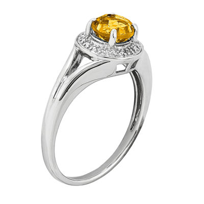 Womens Diamond Accent Yellow Citrine Sterling Silver Halo Ring