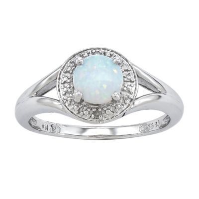 Womens Diamond Accent Lab Created White Opal Sterling Silver Halo Cocktail Ring