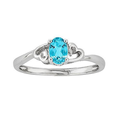 Womens Blue Topaz Sterling Silver Solitaire Ring