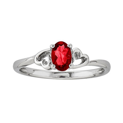 Womens Red Lab Created  Ruby Solitare Ring in Sterling Silver