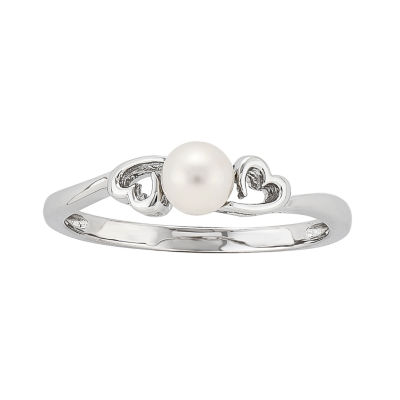 Womens White Cultured Freshwater Pearl Sterling Silver Solitaire Ring