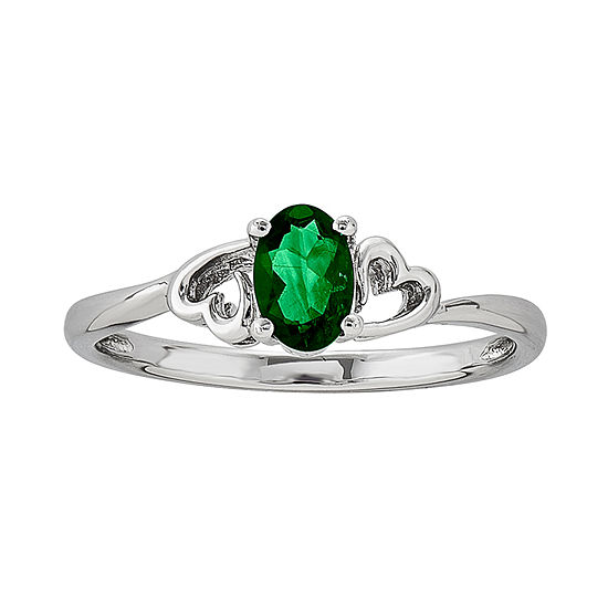 Womens Lab Created Green Emerald Sterling Silver Solitaire Cocktail Ring