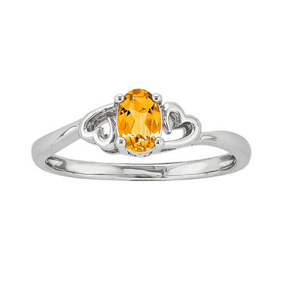 Womens Genuine Yellow Citrine Sterling Silver Solitaire Cocktail Ring