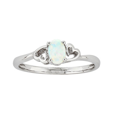Womens Lab Created White Opal Sterling Silver Solitaire Cocktail Ring
