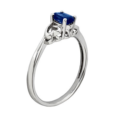 Womens Lab Created Blue Sapphire Sterling Silver Solitaire Cocktail Ring