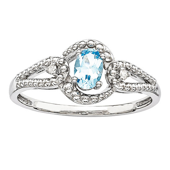 Womens Diamond Accent Genuine Blue Topaz Sterling Silver Halo Cocktail Ring
