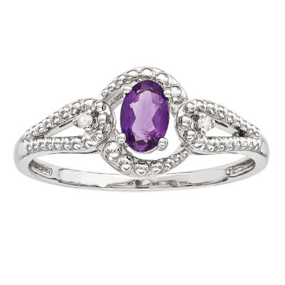 Womens Diamond Accent Purple Amethyst Sterling Silver Halo Cocktail Ring