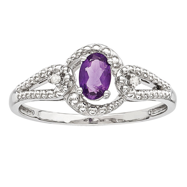 Womens Diamond Accent Purple Amethyst Sterling Silver Halo Ring