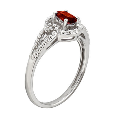 Womens Diamond Accent Genuine Red Garnet Sterling Silver Halo Cocktail Ring